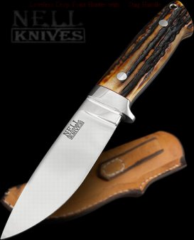 Loveless Style Drop Point Hunter with Amber Stag