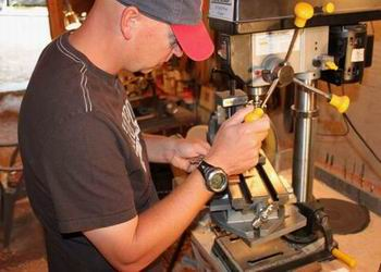 Chad Nell with Drill Press
